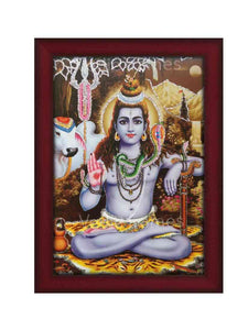 Lrod Shiva with Nandi in brown background glow sand finish