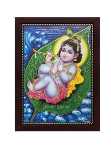 Little Krishna on leaf in water background glow sand finish