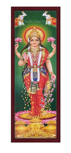 Goddess Lakshmi with halo in green background Vertical