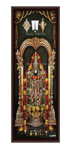 Lakshmi Venkateshwara in rose garland with thiruman sangu chakram on top Vertical