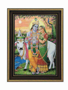 Lord Krishna and Radha in Mathura background glow sand finish
