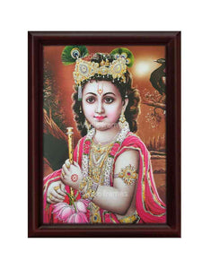 Little Krishna in brown background glow sand finish