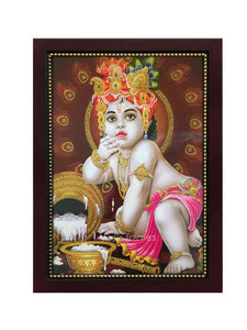 Liitle Krishna with turban in brown background glow sand finish