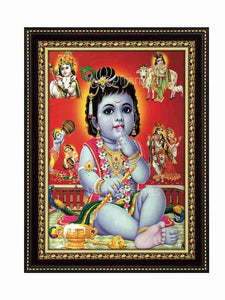 Little Krishna in red background