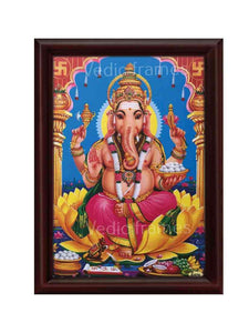 Lord Ganesha in blue background with swastik symbol