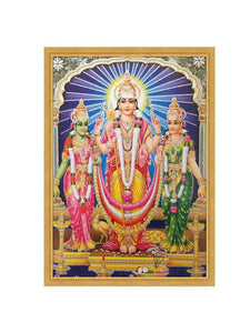 Lord Muruga with bright halo along with Valli and Deivanai glow sand finish