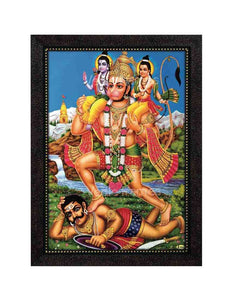 Hanuman carrying Sri Rama and Lakshmana on His shoulders