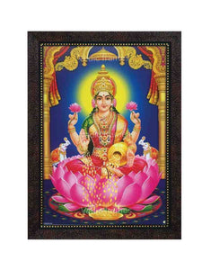 Goddess Lakshmi with halo in blue arch and pillar background