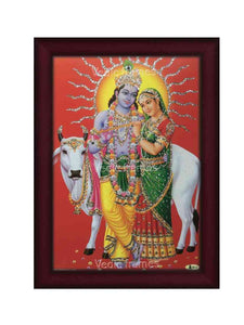 Radha Krishna with cow in red background glow sand finish
