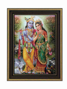 Radha Krishna with halo in natural scenary background