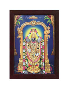 Lord Venkateshwara with arch and plantain background