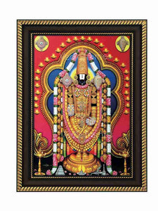 Lord Venkateshwara with lamp border