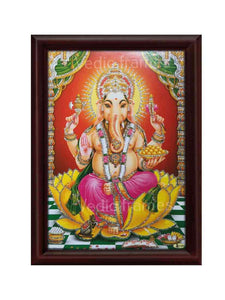 Lord Ganesha on yellow lotus with golen halo glow sand finish