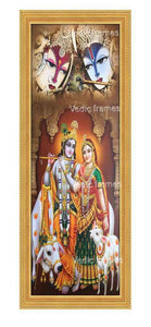 Radha Krishna with cows in pillared background Vertical