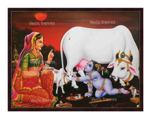 Little Krishna with Yashodha, cow and calf at dusk
