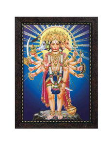 Panchamuka Aanjaneya in blue background glow sand finish