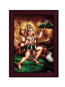 Hanuman holding Sanjeevani in brown scenary background