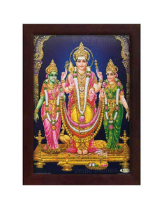 Lord Subramanya Valli and Deivanai in blue background glow sand finish