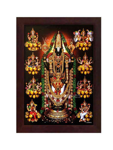 Lakshmi Venkateswara with thulasi garland and halo surrounded by Ashtalaksmi