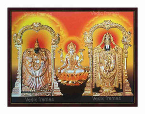 Lakshmi on golden lotus with Perumal and Padmavathi Thayar on either side in yellowish background