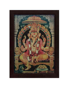 Lord Ganesha on throne with pillared background
