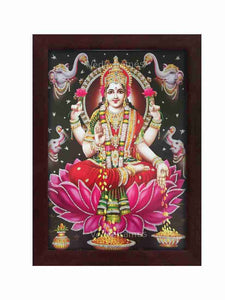 Goddess Lakshmi in grey background glow sand finish