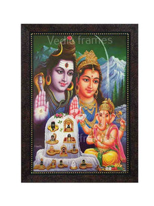 Lord Shiva with Parvathi and Ganesha with white lingam