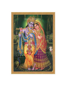 Radha Krishna in green background glow sand finish