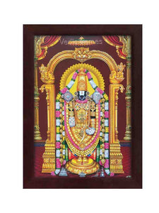 Lord Venkateshwara with halo in pillar background