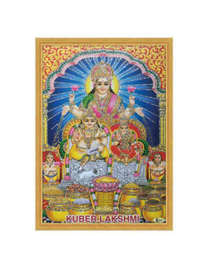 Kuber Lakshmi in designed arch background glow sand finish