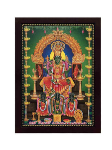 Sri Devi Pachayamman in green background with hanging lamps