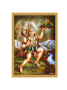 Hanuman holding Sanjeevani in green scenary background