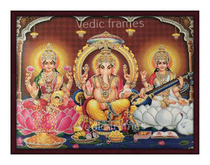 Ganesha with Lakshmi and Saraswathi in brown background glow sand finish