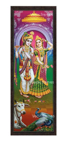 Radha Krishna with prabhai in multicolour background Vertical