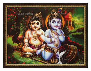 Little Krishna with Balrama eating butter in natural scenary background