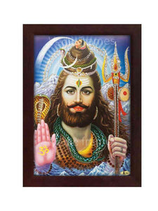Lord Shiva in blue background glow sand finish