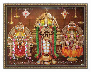 Lord Venkateshwara in vimanam background with Padmavathi Thayar and Lakshmi on either side in sanctum