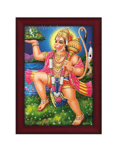 Hanuman lifting Sanjeevani with His right hand in scenary background