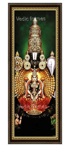 Lakshmi Venkateswara in a green background with Hanuman and Garuda at the bottom