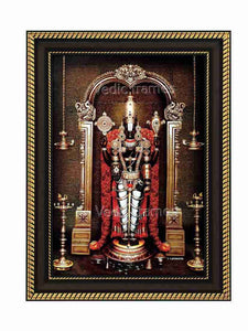 Lord Balaji with rose garland in temple sanctum