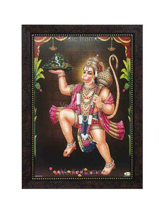 Hanuman carrying Sanjeevani in sanctum with plantain trees