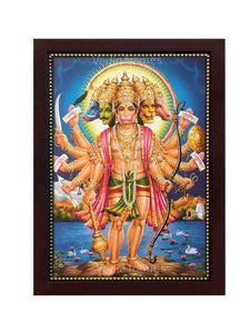 Panchamuka Hanuman standing on a rock in blue background