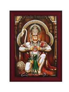 Hanuman in kneeling posture in brown multi-pillar background