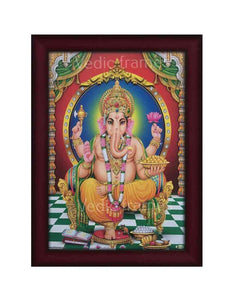 Lord Ganesha with golden circle arch and pillared background