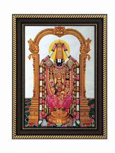 Lakshmi Venkaeswara in prabhai with halo in white background