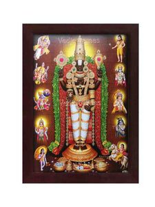 Lord Venkateshwara with rose and thulasi garland and Dasavatharam