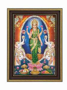 Goddess Lakshmi with oval shaped arch glow sand finish