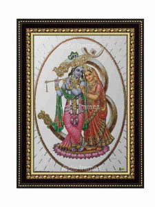 Lord Krishna and Radha in Om background glow sand finish