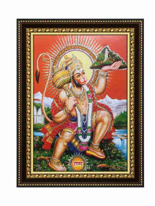 Hanuman with halo lifting Sanjeevani in scenary background glow sand finish