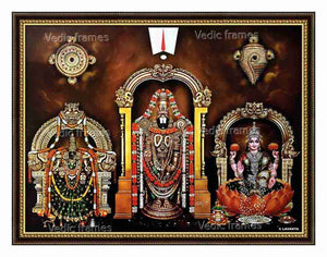 Lord Venkateswara, Padmavathi and Lakshmi with prabhai in brown background with Thiruman Sangu Chakra